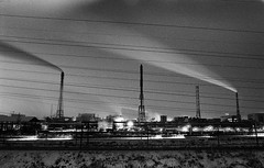 6 (rtw1r) Tags: longexposure nightphotography winter blackandwhite bw plant film ecology 35mm dark twilight industrial factory darkness russia dusk smoke urbanexploration pollution ilford analogphotography chemicalplant urbex airpollution filmphotography darkplace  industrialphotography ilfordpan400 pan400   rtwlr