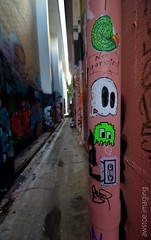 Pacman Gohs (a world seen through open eyes) Tags: urban streetart love fun graffiti alley power handmade ghost stickers cartoon australia brisbane urbanart graff handdrawn slaps positivity gohs streetstickers awstoe lovegohs