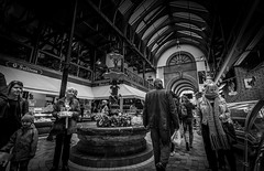 The English Market Cork (davidjhumphries) Tags: street city ireland blackandwhite food fountain monochrome vegetables fruit canon hall market cork victorian wideangle meat tiles deli produce vaulted veg emporium englishmarket fishmongers butchers 1740mml 120316 5d2