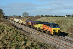 70807 & 66088. Compton Beauchamp. 30-03-2016 (*Steve King*) Tags: compton double class header 70 beauchamp westbury colas bescot 70807 6m50