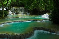 Kuang Si Falls Pools 3 (JessicaAuen) Tags: travel blue nature water wonder waterfall rainforest asia meditate natural outdoor falls pools jungle cascades tropical southeast laos cascade