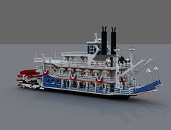 Mississippi River Trip (ravescat) Tags: mississippi shower boat bed rooms ship lego bell engine vessel led wc ferryboat paddlewheel moc