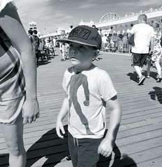 Obey (Steve Lundqvist) Tags: uk travel boy sea summer england people hat children pier seaside kid toddler brighton child open obey tshirt cap promenade