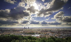 Panorama of Lyon from Fourviere (Caro & Co) Tags: blue panorama cloud reflection architecture clouds composition contrast landscape golden amazing colorful cityscape photographer lyon friday cloudporn fourviere photooftheday naturephotography picoftheday polarization ndfilter landscapephotography skyporn skylovers skyperfection landscapeshooters