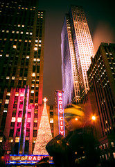 Radio City Rockefeller (Explored) (Pixelglo Photography) Tags: christmas city newyorkcity longexposure nightphotography boy usa newyork night clouds festive christmastree rockefellercentre rockefeller radiocity newyorkchristmas
