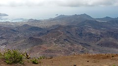 View from the top of Monte Verde (Train Fan) Tags: ocean sea mountain beach rock landscape coast outdoor panoramic barren atlanticocean mountaintop capeverde sovicente seaandsky mountainviews sanvincente panoramicviews capeverdeislands atlanticisland sanvincenteisland capeverdeislabds