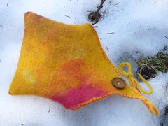 Reversible felt clutch envelope (fleurdefibre) Tags: wool triangles flat felting handmade rustic felt handcrafted blending accessory carded handdyed wetfelt nunofelt