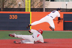 Double play on the fly (RPahre) Tags: out illinois baseball universityofillinois bigten theohiostateuniversity runner ohiostate collision ohiostateuniversity doubleplay secondbase secondbaseman b1g