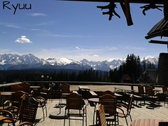mountain panorama with chairs (Ryuu) Tags: wood blue trees roof sky panorama sculpture white mountain mountains skyline clouds composition skyscape landscape wooden cafe rocks heaven view chairs terrace furniture horizon decoration perspective urbannature tables framing tatras tatramountains