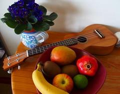 Still Life II (rgrant_97) Tags: flowers music stilllife flores fruit ukulele bodegn