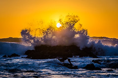 Waves On Fire (Joshua Kling) Tags: ocean blue sunset sea orange wet water fire monterey crash wave asilomar fiery