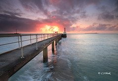 Fire Ball (carmellestewarthook) Tags: lighthouse seascape sunrise pier northumberland lee amble 70d