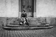 waiting (alexhaeusler) Tags: street people stairs blackwhite waiting