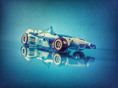 A mirage? (thenatureboywoo) Tags: blue car race racecar background indy formulaone transformers formula mirage wars formula1 hdr autobot hasbro autobots decepticon indycar decepticons bluebackground combiner combinerwars