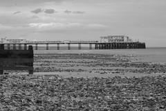 Pier (adrianwoolgar) Tags: sea blackandwhite bw beach water sussex coast pier worthing westsussex jetty shoreline structure groyne