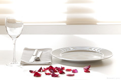 AHS_table06 (alexander h. schulz) Tags: shadow red roses food sun sunlight white love glass table design dish drink interior napkin knife lifestyle fork shutter overexposed chic wineglass elegant minimalism leafs noble serviette roseleafs singleglas