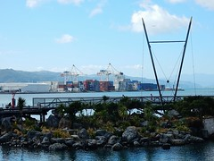 Container Terminal and Rockery (mikecogh) Tags: port coast waterfront footbridge harbour hills cranes wellington containers rockery