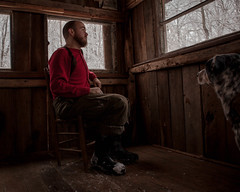 we are home when we are together (gianteyephotography) Tags: wood old winter portrait dog snow glass forest self sticks cabin woods hand cattle time nowhere made single middle digits blizzard