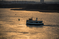 Ferry at sunset