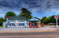 Texaco Gas Station - built in 1933, Illinois (cobravictor) Tags: old sky usa architecture vintage illinois retro gasstation texaco hdr 30s 1933 beautifullandscape builtin1933