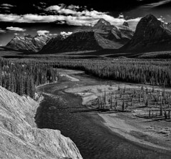 Athabaska River, Mount Fryatt, Mount Christie (martincarlisle) Tags: trees sky blackandwhite canada mountains clouds rockies parks alberta rivers rockymountains nationalparks jaspernationalpark canadianrockies mountchristie sigmalenses photoninja athabaskariver niksoftware mountfryatt sonycameras colourefex silverefexii goatlickviewpoint