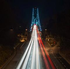 Life in the Fast Lane (Spencer Finlay) Tags: nightphotography bridge canada cars vancouver nightimages lighttrails lionsgatebridge beautifulbc vancouvercanada vancitybuzz