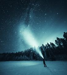 Stargazer (Joni Niemel) Tags: blue trees light sky snow cold night finland stars person astrophotography toned milkyway