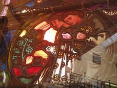 Medallion Scene (Aidan McRae Thomson) Tags: window museum birmingham artgallery stainedglass westmidlands preraphaelite burnejones bmag