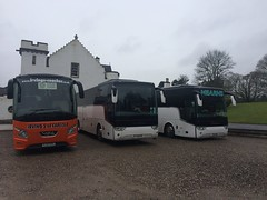 Photo of YJ13 HTL Irving's VDL and TX Vanhools from Mearns of Blantyre YJ15 EUT DAF and Scania SF15 BXB