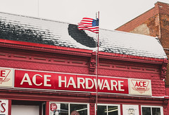 Hermsen's Ace Hardware - Bloomington, Wisconsin (Tony Webster) Tags: winter snow shop wisconsin architecture us hardwarestore store downtown unitedstates flag americanflag bloomington 35 canalstreet acehardware historicbuilding highway35 grantcounty hermsen wisconsinhighway35 cityofbloomington 447canalstreet hermsens hermsensacehardware