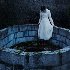 The Abyss (Dara Scully) Tags: blue portrait woman film girl forest dark square dead death dress darkness suicide victorian well cinematic abyss