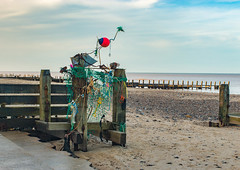 BEACHCOMBER'S ART (mrstaff) Tags: lighthouse art beach danger rocks surf waves bright debris norfolk dry windy sunny cliffs groyne happisburgh coastalerosion seadefense martinstafford january282016
