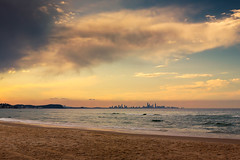 Gold Coast City In The Horizon (k009034) Tags: city travel sunset sky beach water beautiful skyline clouds landscape gold evening coast sand waves space australia scene queensland copyspace copy tranquil coolangatta goldcoast tranquilscene destinations traveldestinations 500px teamcanon