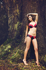 Anna - Forest and Lace (Rob Harris Photography) Tags: red portrait woman colour texture nature girl beautiful beauty fashion female contrast model rainforest underwear artistic body lace curves creative naturallight lingerie bikini boudoir expressive form modelling