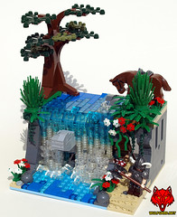 Sample Contest Entry: The Dungeon Behind the Falls (Saber-Scorpion) Tags: water waterfall lego contest fantasy vignette norse barbarians brickforge wulfgard brickwarriors