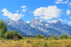 Tetons for a Backdrop (Patricia Henschen) Tags: mountains clouds snakeriver wyoming grandtetons tetons grandtetonnationalpark menorsferry menorsferryhistoricdistrict