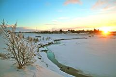 Sólarupprás á Selfossi (skolavellir12) Tags: winter sky sun snow sunrise river iceland selfoss ölfusá