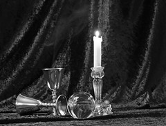 Still Life 3 (Sybalan,) Tags: light stilllife colour canon silver ball mono scotland candle purple crystal flash velvet indoors flame setup practice goblet httpsybalanphotographyweeblycom