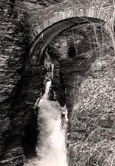 Entrance Cascade, Watkins Glen (LJS74) Tags: blackandwhite bw nature monochrome landscape waterfall newyorkstate fingerlakes watkinsglen walkbridge stonebridge sentrybridge entrancecascade