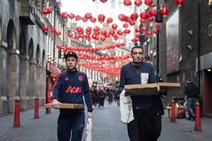 pizza (jonron239) Tags: men london boys chinatown expressions pizza boxes baseballcaps lislestreet