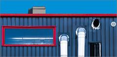 Rennes - Urban minimalism [Explored] (Hervé Marchand) Tags: rennes bretagne urbain blue red windows fenetre lines canoneos7d inexplore