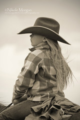 She Be Little but She Be Fierce (wild out west) Tags: horses blackandwhite horse usa girl america colorado country riding blonde western littlegirl cowgirl cowboyhat saddle ranching