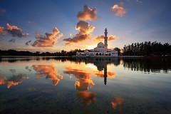 Blessing [explored] (fiz_zero) Tags: sunset summer wallpaper sky sun reflection building nature beautiful beauty architecture clouds sunrise landscape evening nikon asia outdoor background minaret awesome muslim islam religion mosque explore malaysia sunrays terengganu rayoflight kualaterengganu floatingmosque kualaibai nikon1635mmf4vr iamnikon nisifilter nikond750 nisimalaysia