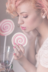 a beautiful dream series (DeboraDiDonato) Tags: pink flowers portrait white colors project hair model mood candy dream surreal delicious harmony concept conceptual delicate concettuale modella