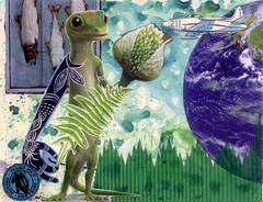 blue and green mailart (CaZaTo Ma) Tags: collage mixedmedia postcard ama mailart swapbot hmpc