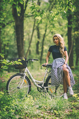 DSC05438 (Pavel Valchev) Tags: wood trees portrait woman fashion bicycle lady outdoor sony cycle portraiture mf casual charming 85 walimex beatiful slt a57 rokinon