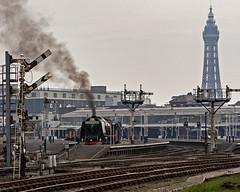 Seaside semaphore steam (Nigel Gresley) Tags: tower seaside steam locomotive sutherland blackpool duchess 6233 semaphores