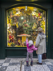 Window shopping with Grandma, Pohdka in Prague (vfrman07) Tags: prague places praha toyshop pohdka