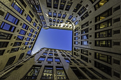 patio (Blende1.8) Tags: windows sky building architecture nikon fenster hamburg innenhof himmel sigma wideangle bluesky patio architektur hh gebude inneryard 816mm d7000