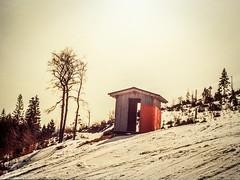 (Karo Krmer) Tags: schnee trees sun house mountain snow ski berg analog 35mm bayern bavaria htte haus hut snowboard sonne portra bume arber gebirge bayerischerwald rollei35t
